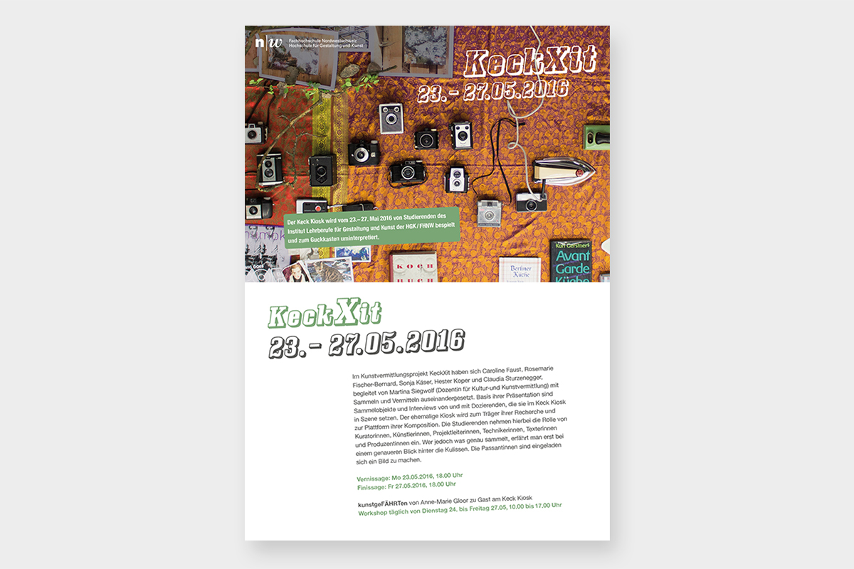 Flyer und Plakat für KeckXit im Keck-Kiosk an der Kaserne Basel
